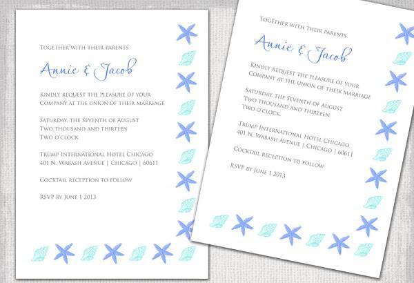 White Printable Beach Wedding Invitation