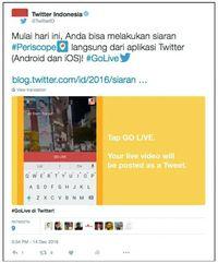 Siaran Periscope Bisa Langsung dari Twitter