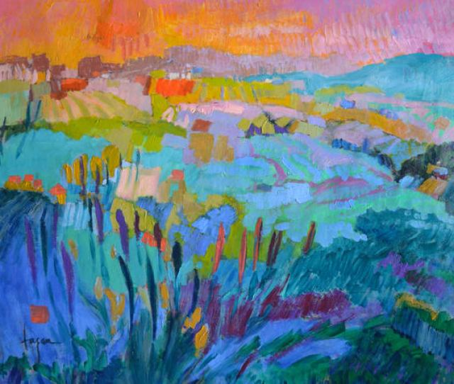 Colorful Abstract Mountain Landscape Art Print On Canvas The Pond Within By Dorothy Fagan