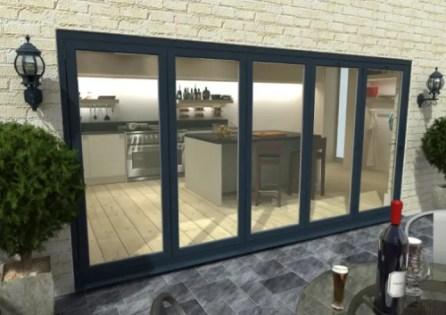 climadoor grey aluminium bi folding patio doors