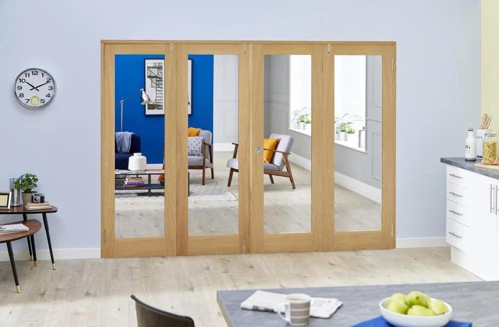 8ft 2400mm Oak Glazed Prefinished Frenchfold Room Divider Doors