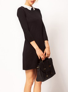 Little Black Dresses   Cheap Price Little Black Mini Knit Dress   White Lace Collar   Color Block