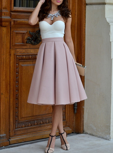 Pink Pleated Skirt Midi Length High Waisted