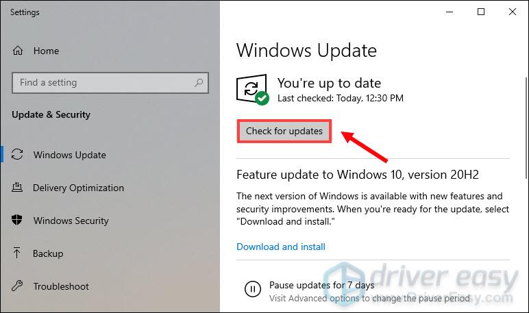 нажмите Проверить наличие обновлений, чтобы узнать, актуальны ли ваш компьютер или доступны ли какие-либо обновления.