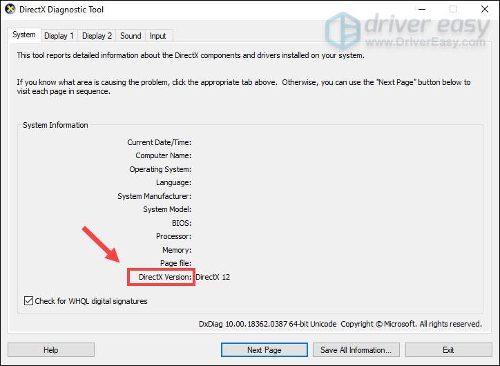 Инструмент диагностики DirectX проверяет версию DirectX