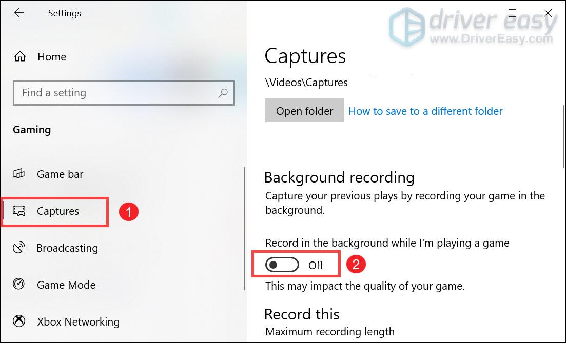 отключить запись в фоновом режиме