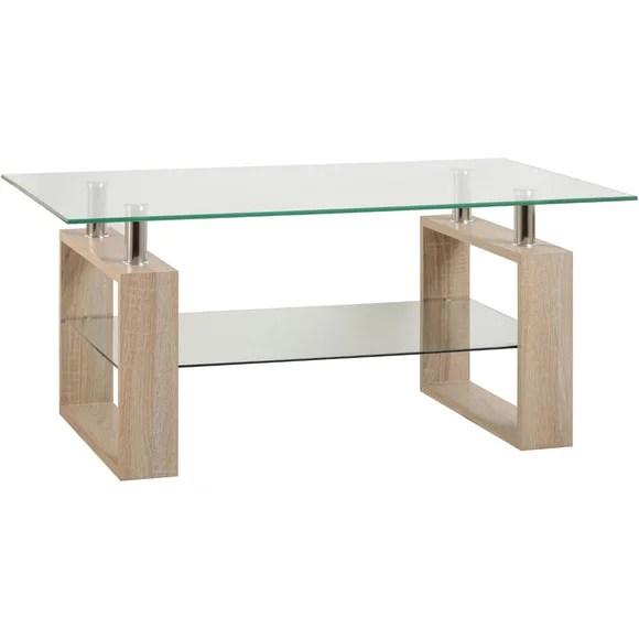 Milan Oak Glass Top Coffee Table Dunelm