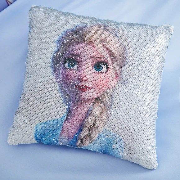 frozen 2 anna and elsa alternating image sequin cushion
