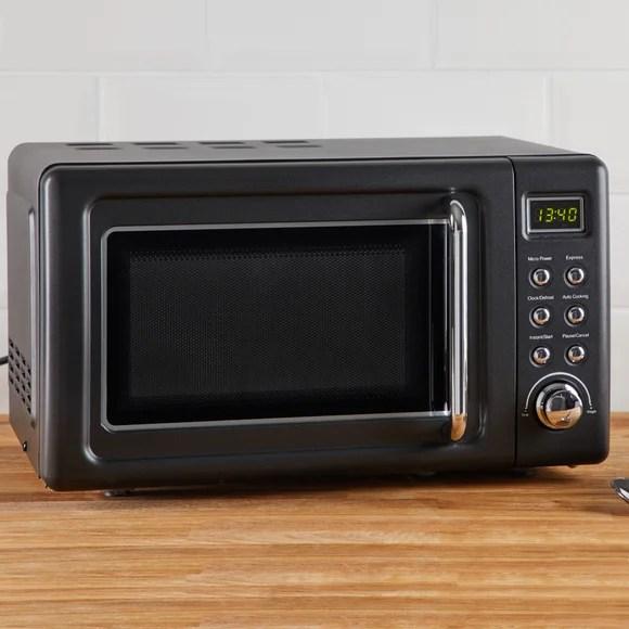 retro 20l 800w matt black microwave