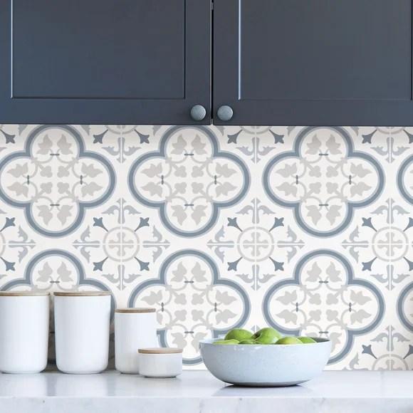 lisbon blue self adhesive backsplash tiles