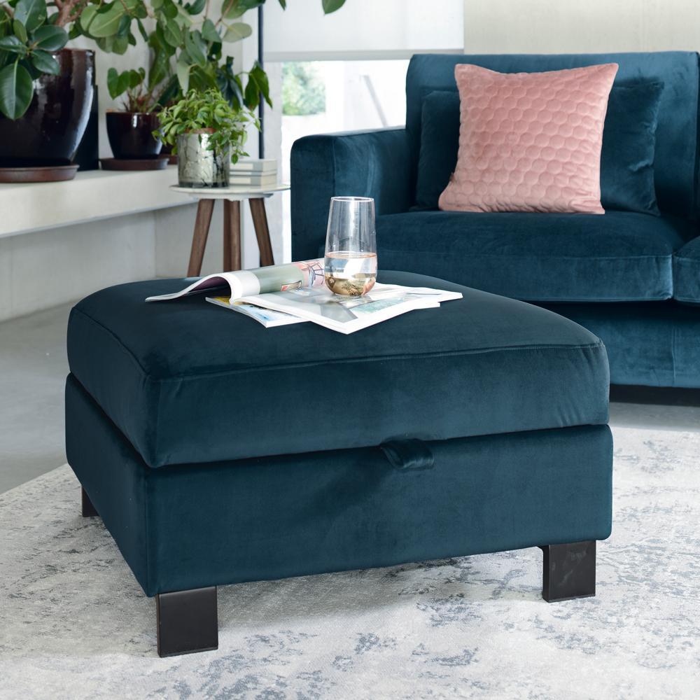lugano ii storage footstool alba velvet blue dwell 249