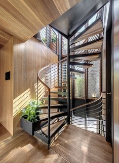 Best 60 Modern Staircase Wood Railing Design Photos And Ideas Dwell | Center Staircase House Plans | Georgian House | Spiral | Split | Room | Contemporary