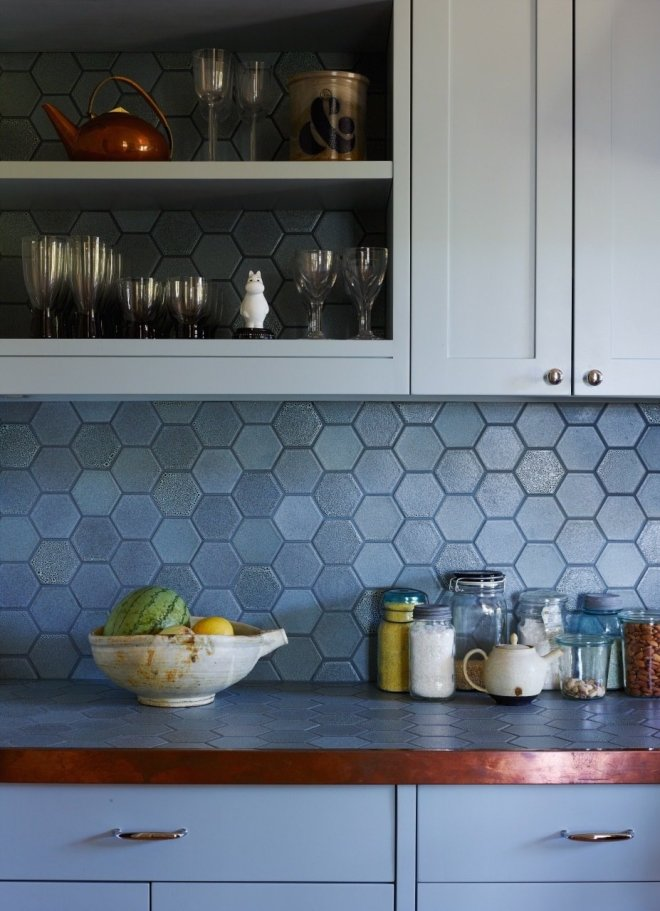 25 Backsplash Ideas For Your Kitchen Renovation - Photo 9 of 25 - Heath Ceramics hex tile backsplash and counter with copper edge