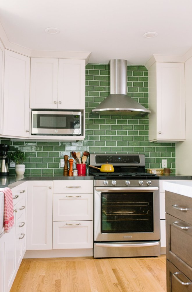 "25 Backsplash Ideas For Your Kitchen Renovation - Photo 18 of 25 - Fireclay Tile in a classic subway pattern goes beyond the standard 18"" H backsplash raising the ceiling visually."