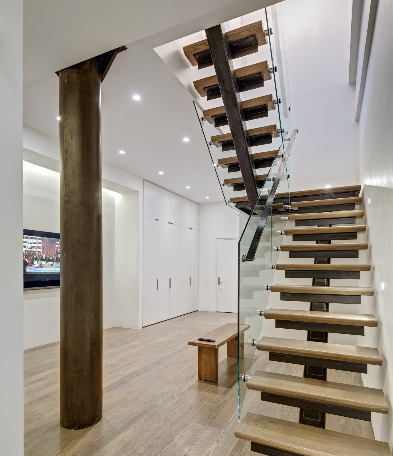 Photo 41 Of 48 In Staircase Metal Wood Photos From Noho Duplex   Staircase Design For Duplex   Living Room   Villa   Indian   Modern   Flat