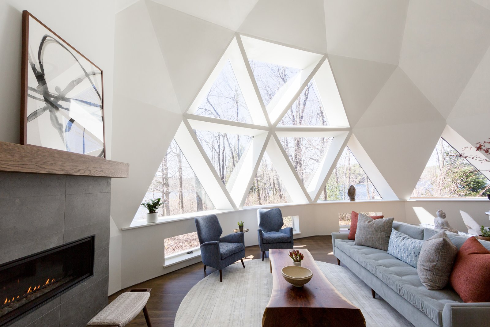 Photo 1 Of 7930 In Living Photos From A Geodesic Dome Shines With A Light And Bright Makeover Dwell