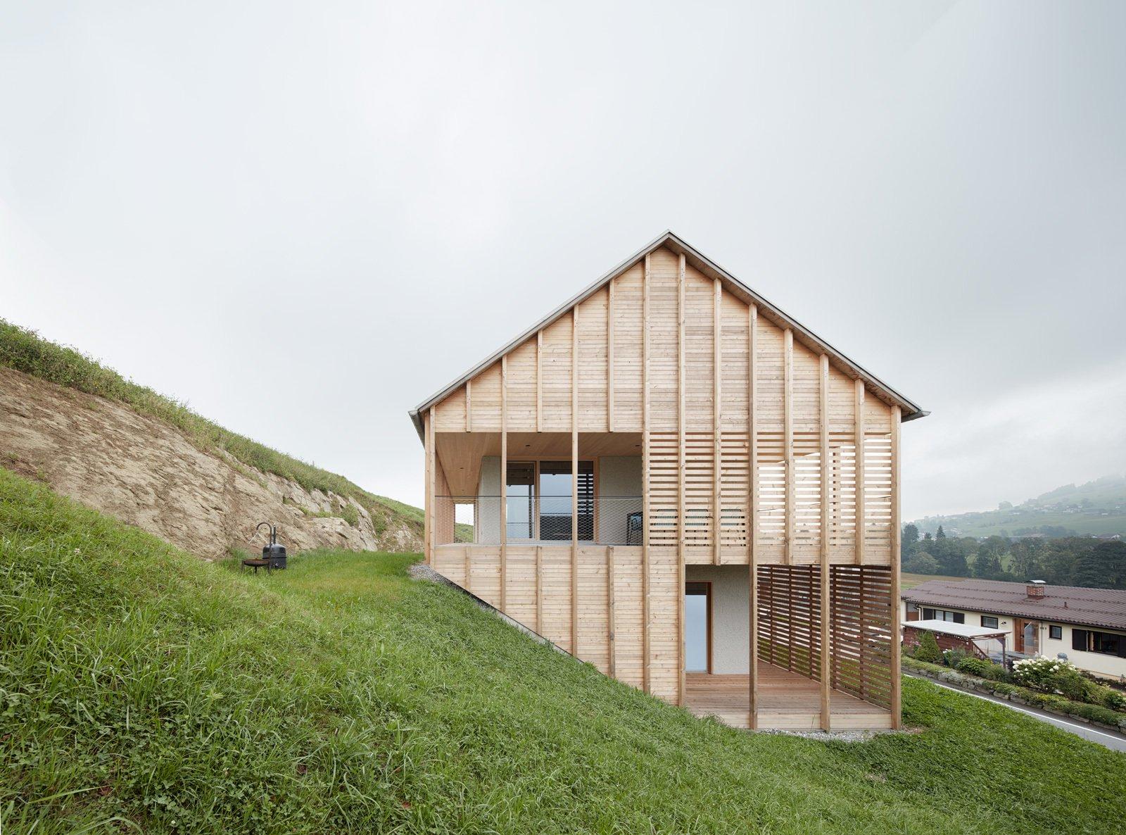 Best Kitchen Gallery: A Minimalist Home Is Built Into Steep Terrain In An Austrian Valley of Modern Home Base Of Steep Hillside on rachelxblog.com