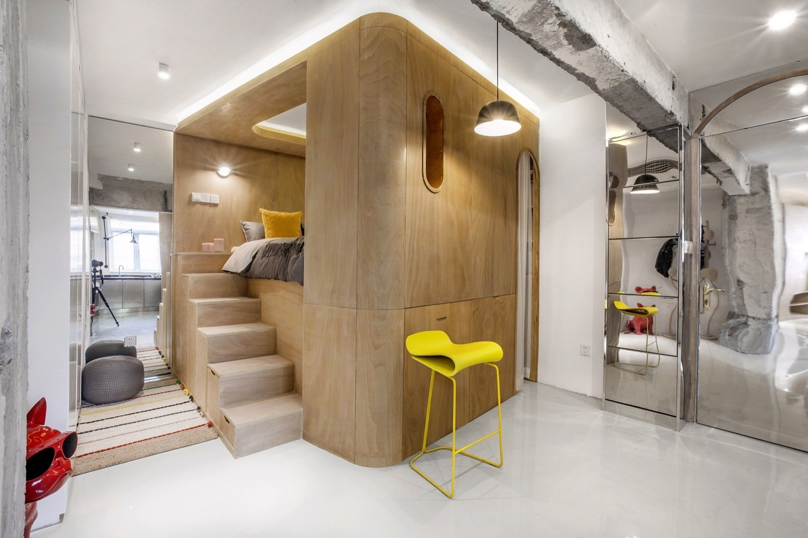 Rotated Volumes Cleverly Maximize Space In A Tiny Shanghai | Clever Stairs For Small Spaces | Beautiful | Small Home | Compact | Decorative | Small Apartment