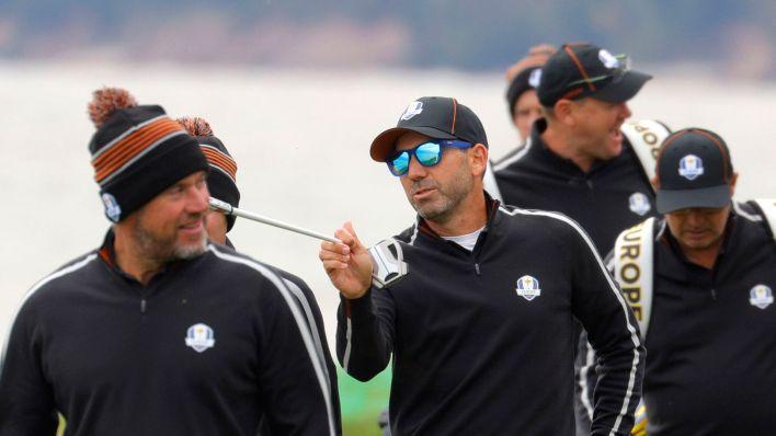 Sergio García y Lee Westwood charlan durante un entrenamiento esta semana. (REUTERS)