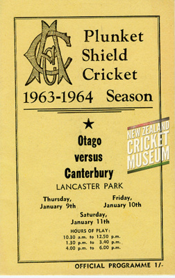 The official programme for 1964's Plunket Shield m...