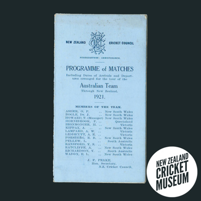 Programme of Matches, including dates of arrivals ...
