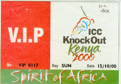 V.I.P. Pass: ICC Knockout, Kenya 2000; International Cricket Council; 2000; 2012.89.1