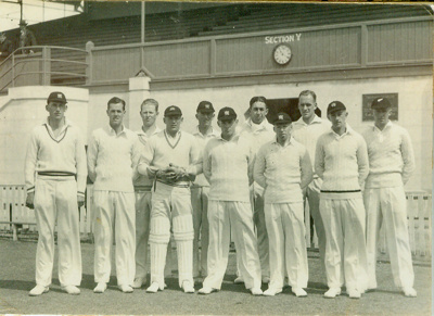 Photo: Wellington Cricket Team that played Otago, Carisbrook, Dunedin, February 1940; Unknown; FEB 1940; NCM75