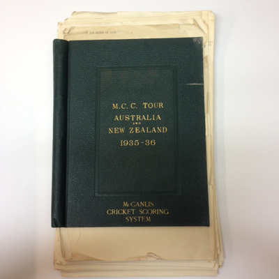 Scorebook: MCC Tour to Australia and New Zealand, 1935-36; 1935; 2015.34.19