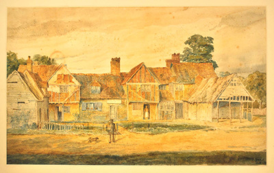 Cottages at Titmore Green: watercolour; Frederick Landseer Maur Griggs RA; 1894; 6059