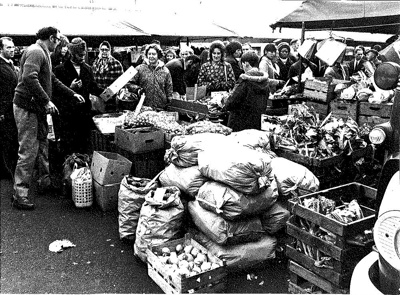 Photograph of Worbey stall, Hitchin Market, November 1973