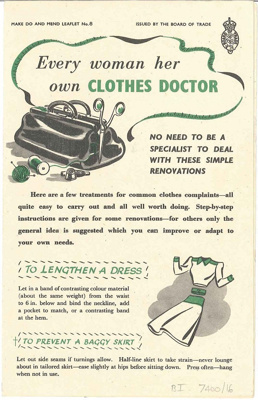 Every woman her own clothes doctor pamphlet; Fosh & Cross Ltd.; Board of Trade