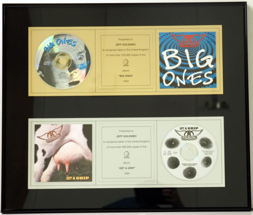 Aerosmith Big Ones + Get A Grip award disc UK AERAWBI119308