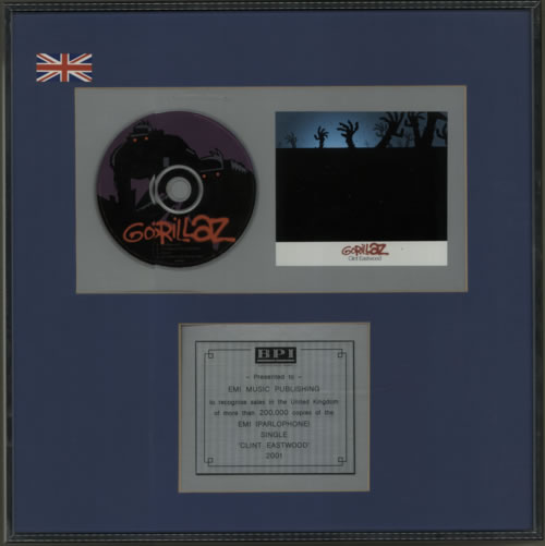 Gorillaz Clint Eastwood - Silver award disc UK GLZAWCL602170