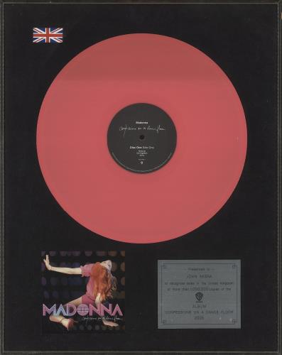 Madonna Confessions On A Dance Floor - 1M sales award award disc UK MADAWCO745584