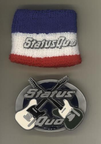 Status Quo Belt Buckle and Sweatband memorabilia UK QUOMMBE729903