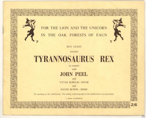 T-Rex / Tyrannosaurus Rex For The Lion And The Unicorn In The Oak Forests Of Faun tour programme UK REXTRFO722920