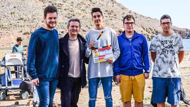 Santos, Rubén, Francisco y José Luis con Luis Serrano en su visita al rodaje de 'Jesús de Nazaret'.