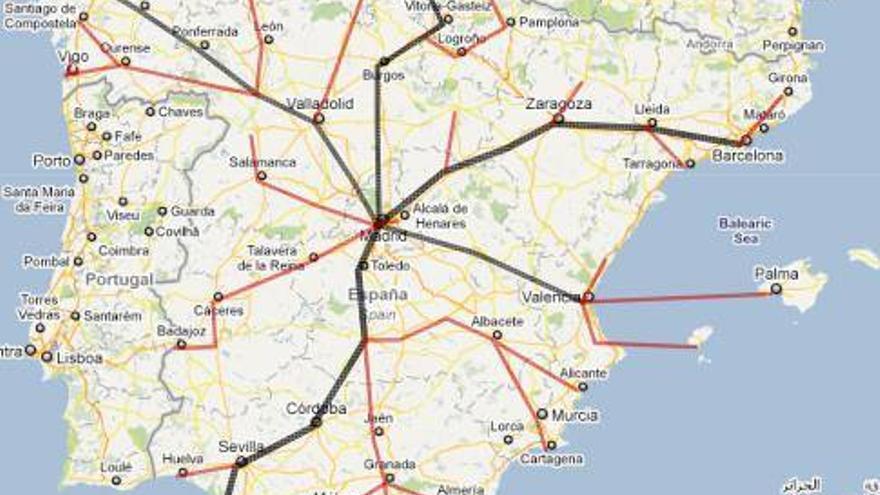 Mapa con las distintas rutas de las Marchas de la Dignidad que confluirán en Madrid el 22 de marzo.