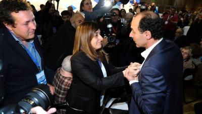 María José Sáenz de Buruaga e Ignacio Diego tras el Congreso Regional del PP de Cantabria.