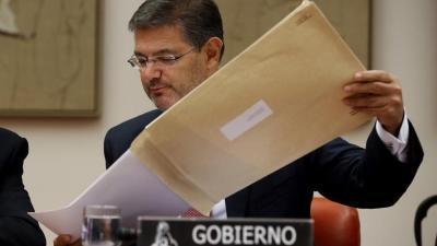 El ministro de Justicia, Rafael Catalá, durante su comparecencia en el Congreso de los Diputados.