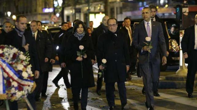 Homenaje a las víctimas de París de Anne Hidalgo, François Hollande y Barack Obama
