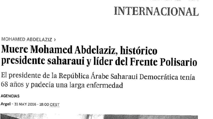 """El """"histórico presidente saharaui y líder del Frente Polisario"""" pasa a ser solo """"líder del Frente Polisario durante 40 años""""."""