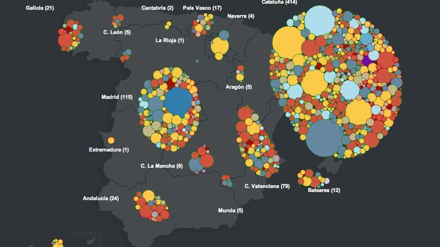 Captura de pantalla da visualización interactiva de RTVE-Labs sobre os proxectos cofinanciados en Verkami