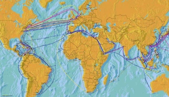 Mapa mundial del cable submarino de fibra óptica