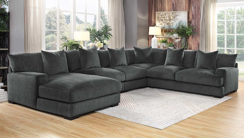 homelegance worchester sectional sofa set dark gray