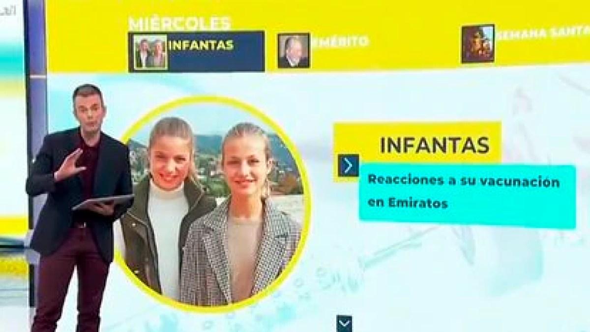 Una transmisión de TVE mostró brevemente a las hijas de Felipe VI, Leonor y Sofía, en lugar de sus hermanas Elena y Cristina, para ilustrar la historia de su supuesta vacunación en los Emiratos Árabes Unidos.