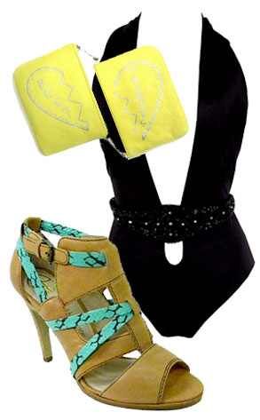 Rebecca Minkoff Best Friends Pouches, Frederick Swimsuit, House of Harlow Sandal