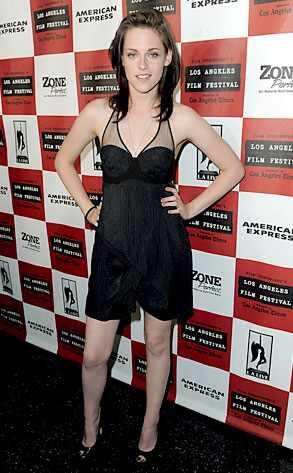 Let Us Down Easy, Please  We had it so good when Kristen Stewart was glammed up from head to toe to promote Eclipse. Now she's taken it down a few notches in a Preen dress, little makeup and so-so locks for the low-key Welcome to the Rileys premiere in L.A. Blah. When does Breaking Dawn premiere again?