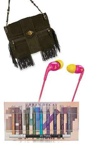 Phillips O'Neill Headphones, Urban Decay Eyeliner, Rachel Zoe Fringe Bag