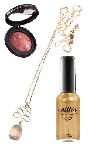 Collage, Peggy Li Squiggle Drop Necklace, Nailtini Janie Bryant Nail Polish & Laura Gellar Tropic Hues Blush
